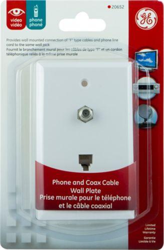 Plaque murale pour câble coaxial et téléphonique GE, blanc Image de l'article