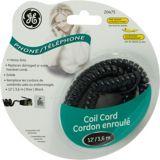 Cordon spirale de téléphone GE, noir | GEnull
