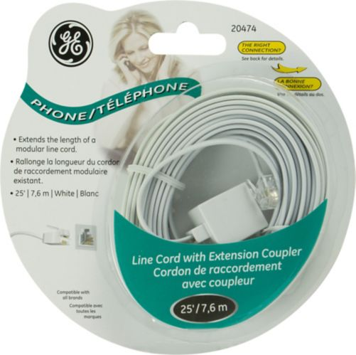 GE Line Cord with Extension Coupler, 25-ft