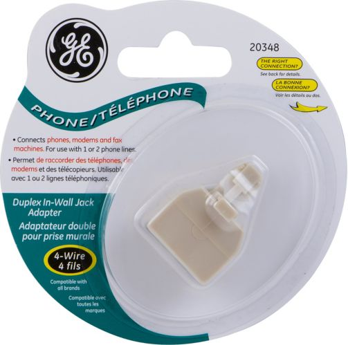 GE Duplex In-Wall Jack Adapter, 4-Wire, Ivory Product image