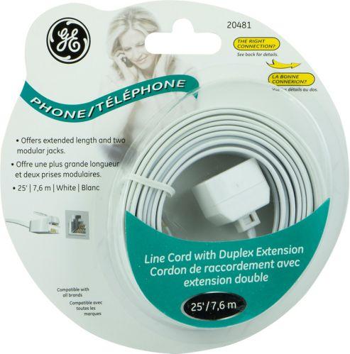 Cordon de téléphone avec rallonge duplex GE, blanc, 25 pi Image de l'article