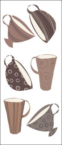 Applique murale Snap!, à peler et coller, motif de tasses Image de l'article