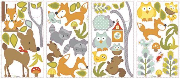 Décalcomanies murales RoomMates, animaux de la forêt