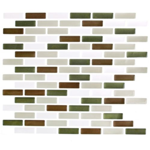 Peel & Impress Green & Brown Glass Vinyl Wall Tile, 4-pk Product image