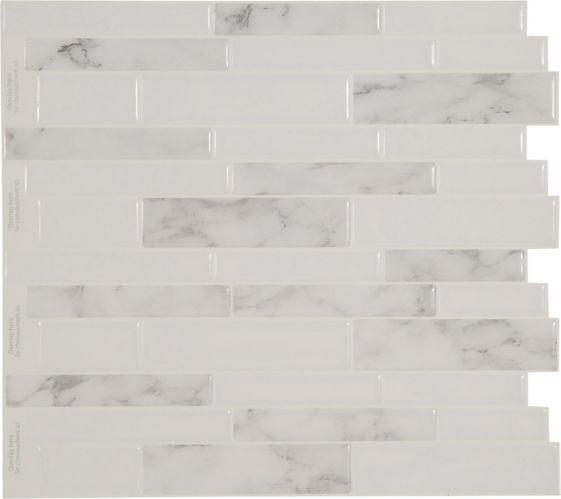 Peel & Impress Adhesive Vinyl Wall Tiles, White & Grey Marble, 4-pk Product image
