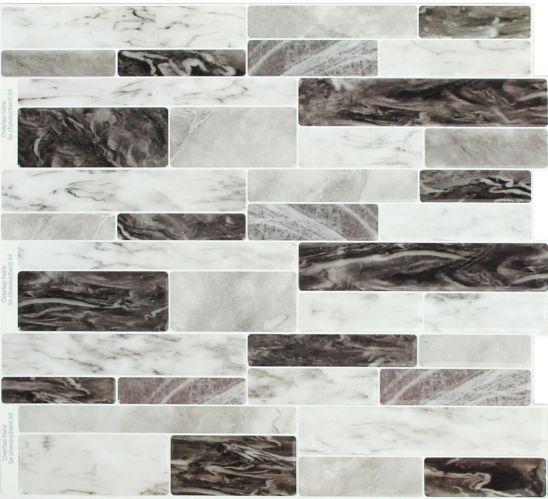 Peel & Impress Adhesive Vinyl Wall Tiles, Dark Sky Marble, 4-pk Product image