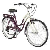 "Schwinn Women's Sanctuary7 Cruiser Bike, 26-in | Schwinn | The Schwinn Sanctuary 7 Women's 26"" Cruiser Comfort Bike improves your commute and makes regular cycling fun. Featuring a retro style frame, spring saddle, stan"