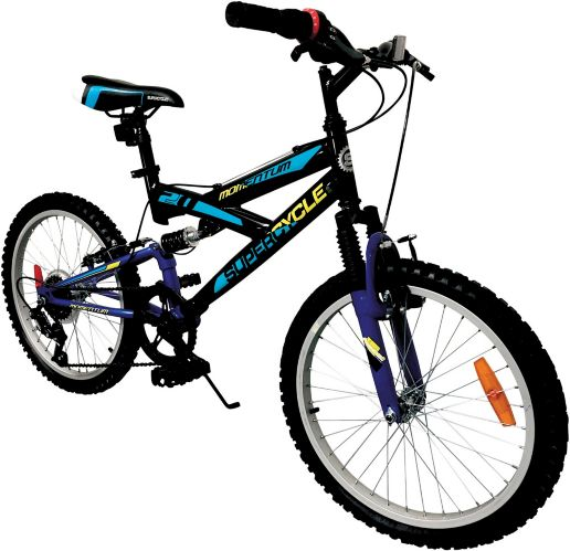 Supercycle Momentum Youth Dual Suspension Bike, Black, 20-in