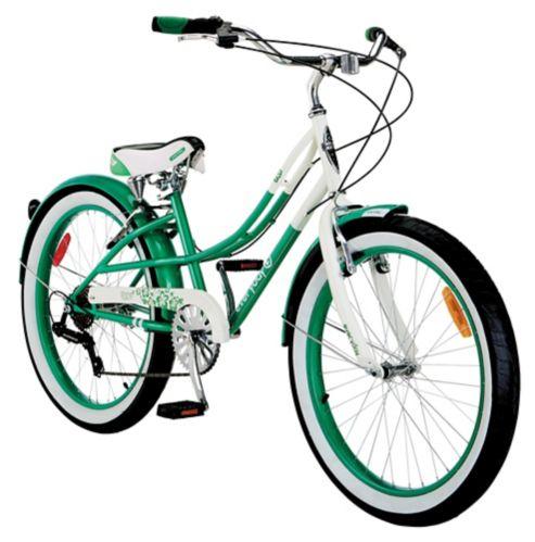Everyday Shine Youth Cruiser Bike, White/Green, 24-in Product image
