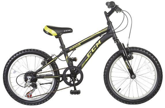 Vélo en acier pour enfants CCM Ruckus, noir et jaune, 18 po Image de l'article
