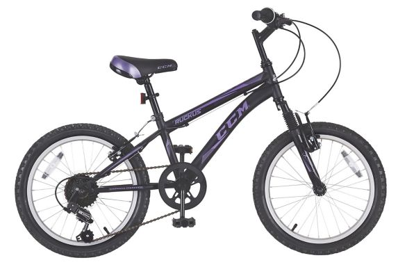 CCM Ruckus Kids' Bike, Black & Purple, 18-in Product image