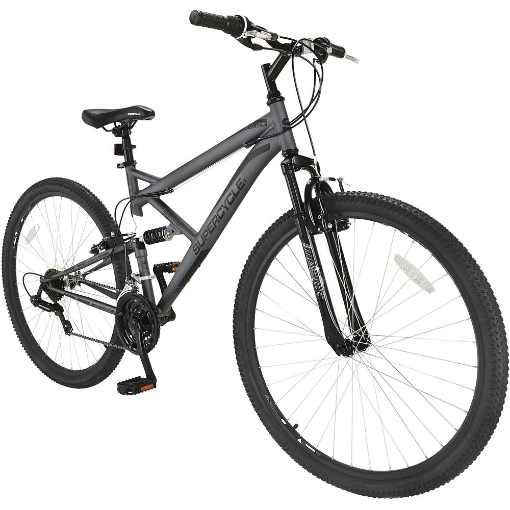 Supercycle Outlook Dual Suspension Mountain Bike, Black/Grey, 29-in