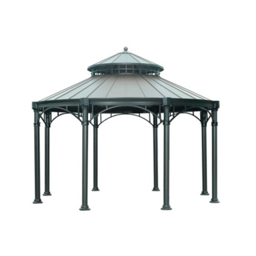 Sunjoy Younge Round Gazebo with Black Colour Top