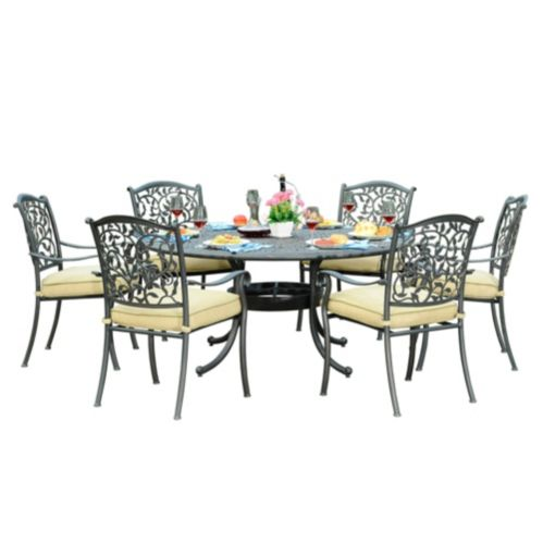 Sunjoy Simone Dining Set with Round Table, 7-pc