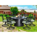 Sunjoy Laineux LP Firepit Chat Set, 7-pc