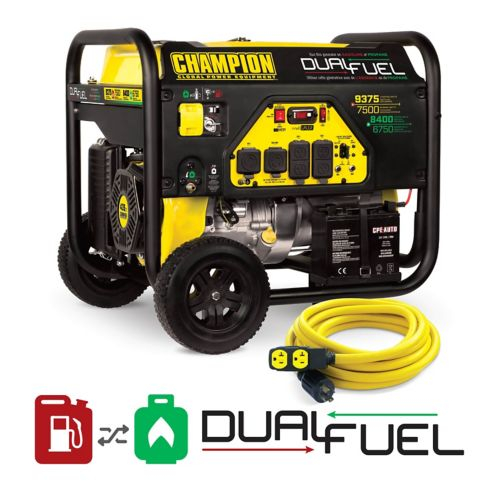 Champion 7200W / 9000W Dual Fuel Portable Generator with Power Cord Product image