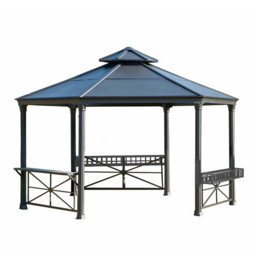 Sunjoy Carbondale Hardtop Hexagonal Gazebo, 166 x 144 x 128-in Product image