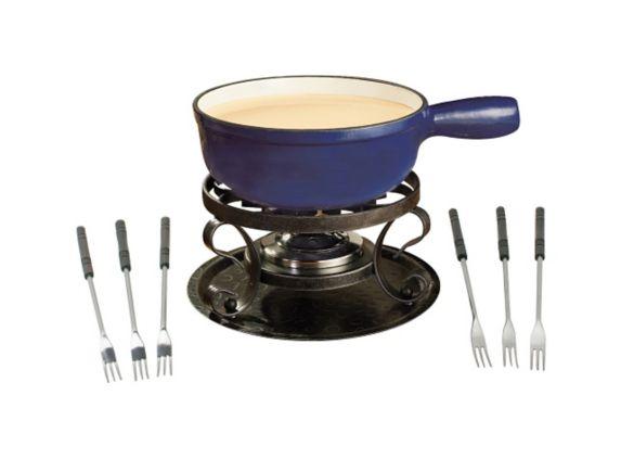 Swissmar Lugano Cast Iron Fondue Set, Deep Blue, 9-pc Product image