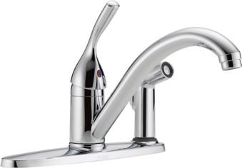 Delta Single Handle Kitchen Faucet with Integral Spray, Chrome