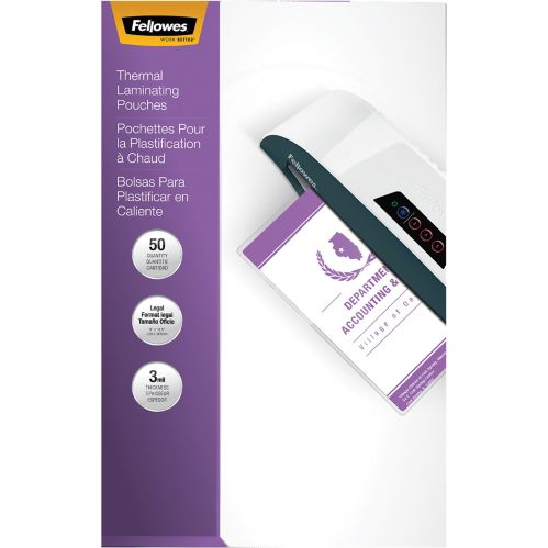 Fellowes Legal Laminating Pouches, 3-mm, 50-pk