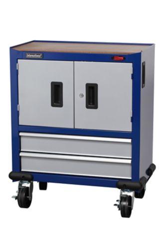 International 2-Drawer & Door Trolley, Blue & Grey, 27-in