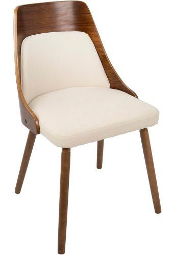 LumiSource Anabelle Mid-Century Dining Chair, Walnut/Cream