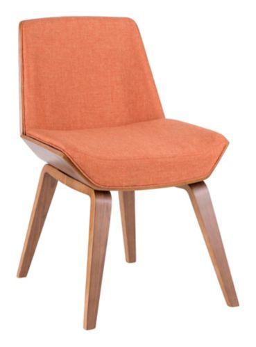 LumiSource Corazza Mid-Century Counter Chair, Walnut/Orange