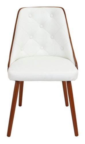 LumiSource Gianna Mid-Century Dining Chair, Walnut/White