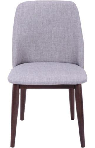 LumiSource Tintori Upholestered Dining Chair Set, Walnut/Light Grey, 2-pc