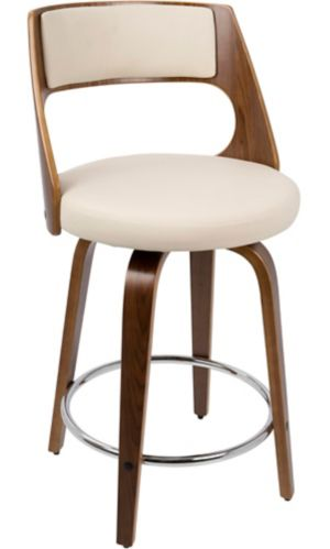 LumiSource Cecina Fixed Height Counter Stool, Walnut/Cream
