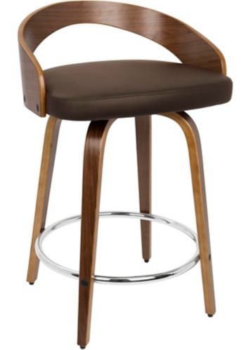 LumiSource Grotto Mid-Century Counter Stool, Walnut/Brown