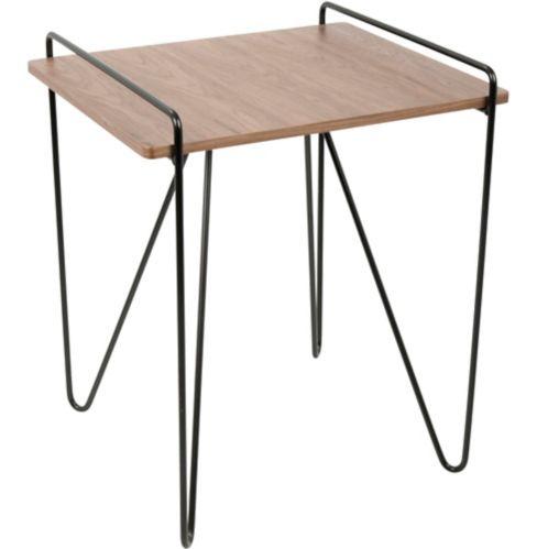 LumiSource Loft Mid-Century End Table, Walnut/Black
