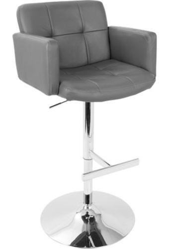 LumiSource Stout Height Adjustable Swivel Bar Stool, Grey