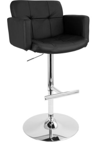 LumiSource Stout Height Adjustable Swivel Bar Stool, Black