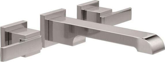 Delta Ara 2-Handle Wall Mount Bathroom Faucet, Stainless Steel