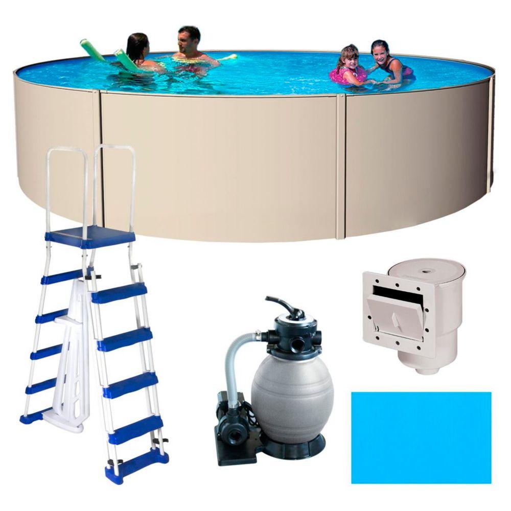 Blue Wave Round Havana Steel Pool Package, 15-ft