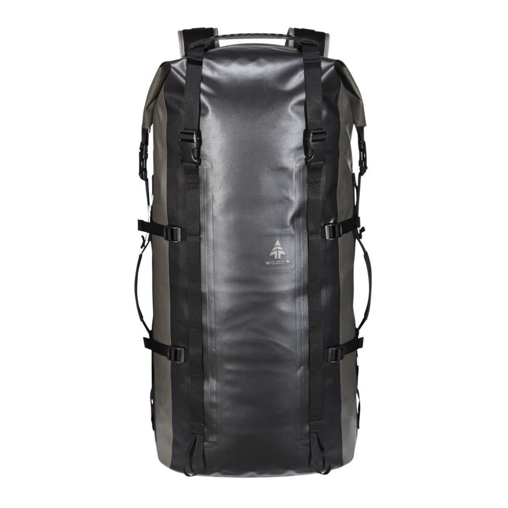 Woods Expedition Portage Lightweight Hiking Dry Pack, Black, 65-L