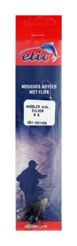 Etic Snelled Muddler Fly, Silver, Size H08