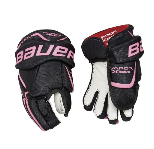 Bauer Vapor X:Edge Hockey Gloves, Black/Pink, Youth