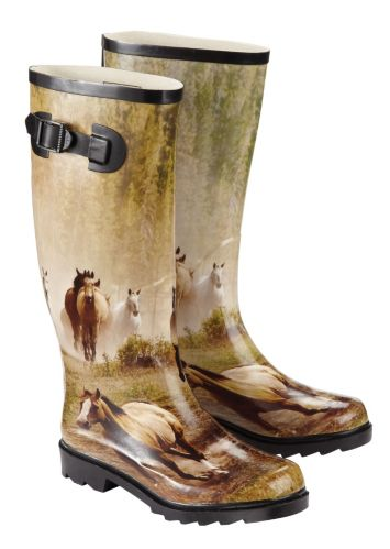 Broadstone Women's 3D Rubber Horse Print Rubber Boots Product image