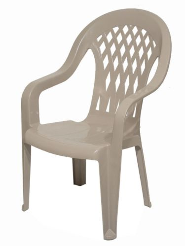 Gracious Living Lattice High-Back Resin Chair, Taupe Product image