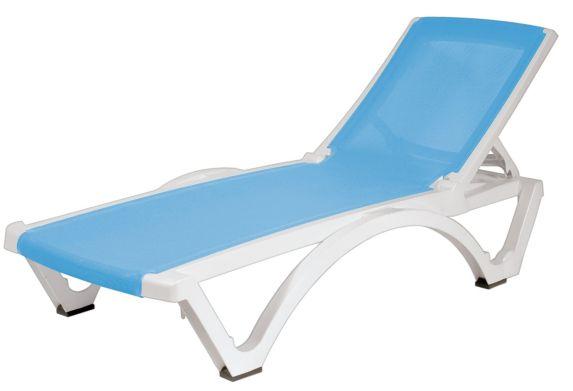 Gracious Living Baja Resin Sling Lounge, White/Blue Product image