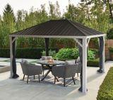 Abri de jardin à toit rigide CANVAS Skyline, cadre en aluminium et en acier galvanisé, 10 x 12 pi, beige | CANVASnull