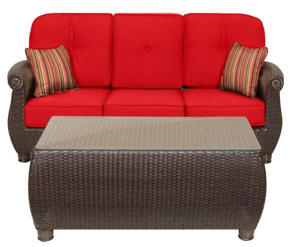 Canapé et table basse de jardin La-Z-Boy Whitley, rouge jockey, 2 pces Image de l'article
