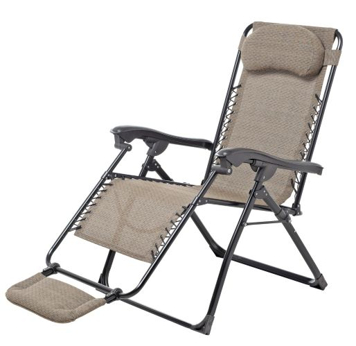 Sling Deluxe Zero Gravity Patio Chair with Footrest, Beige Product image