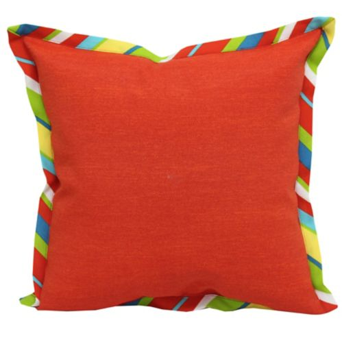 CANVAS Flanged Stripe Patio Toss Pillow, Red Product image
