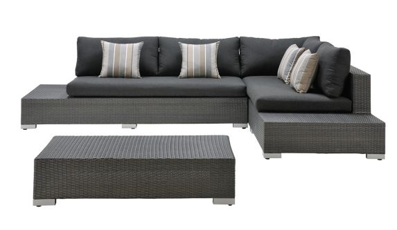 La-Z-Boy Outdoor Sterling Heights Sectional Seating Couch, Charcoal Grey Product image
