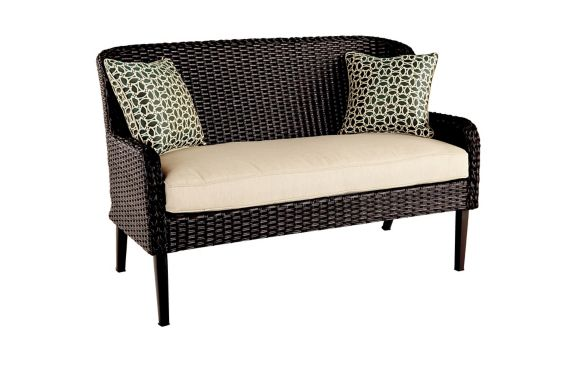 CANVAS Brooke Wicker Bench with Toss Cushions Product image