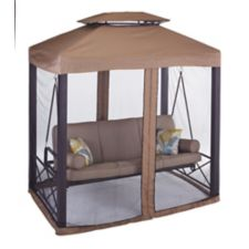 Canvas Valencia Patio Swing Daybed With Netting