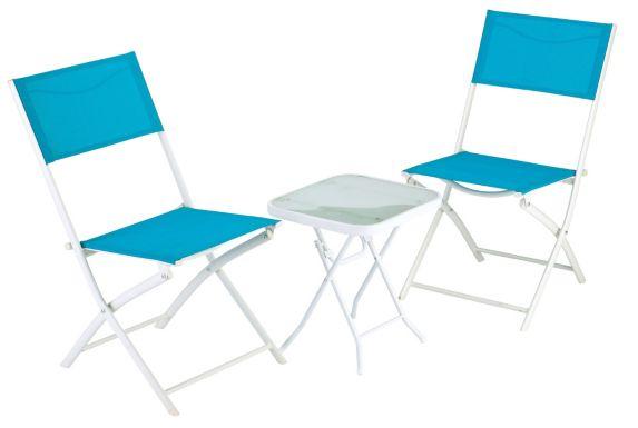 Chaise pliante en toile bistro, bleu Image de l'article